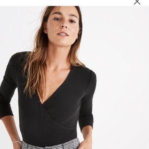 Madewell Wrap Bodysuit XS Black